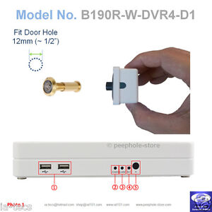 190-Brass-Door-Camera-Motion-Detect-4-CH-DVR-Remote-Smartphone-Viewing