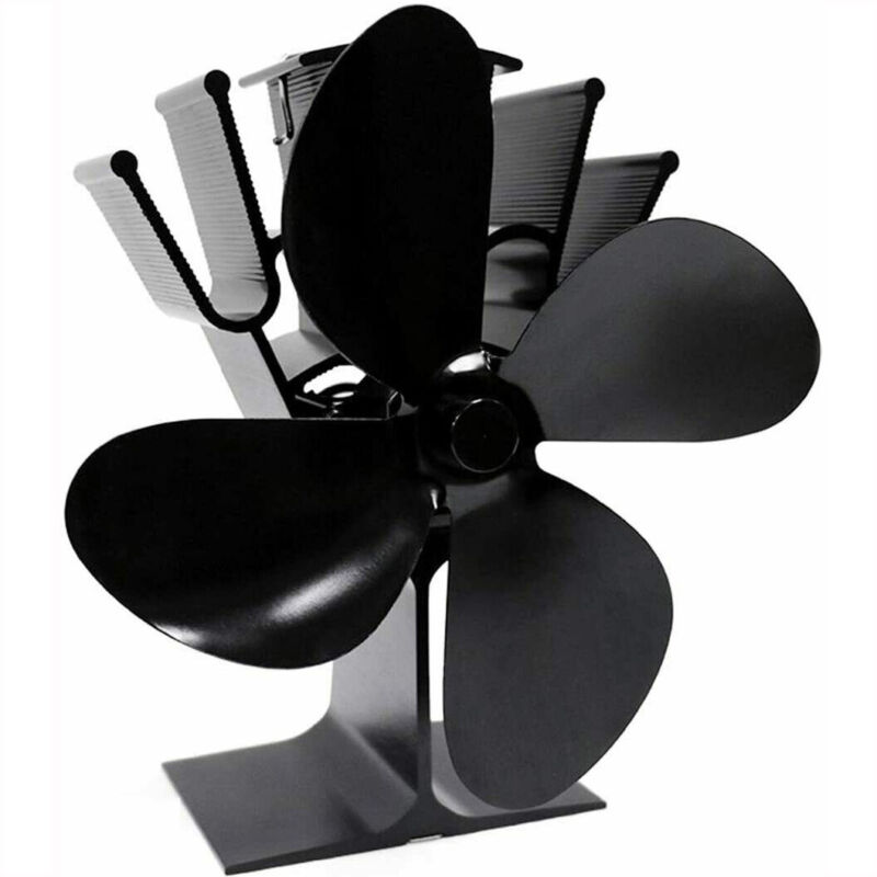 4 Blade for Heat Powered Wood Stove Fan Wood Log Burner Fireplace Friendly Fan