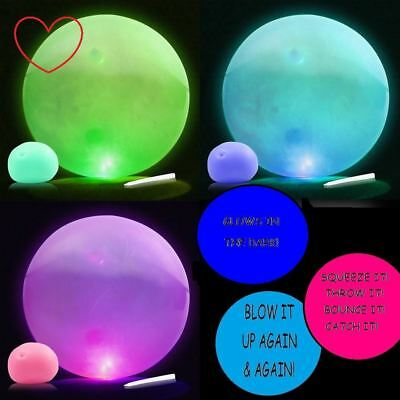 Balloon Stress Ball - Balloon Ball Glow In Dark Toy Blow Up Squeezy Fiddle Fidget Stress ADHD Autism