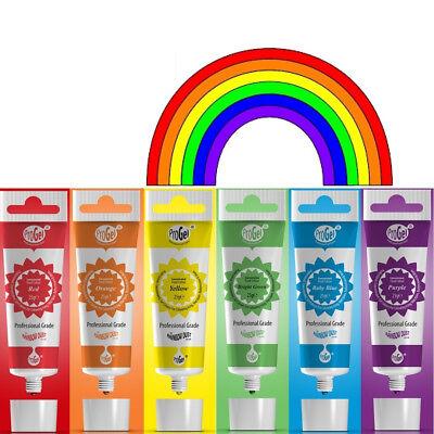 RAINBOW Dust ProGel Icing Colour Paste Gel Food Colouring Sugarcraft Set 6 Pack - Gel Icing Color