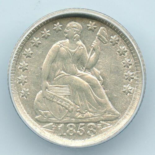 1853 Arrows Liberty Seated Half Dime, ANACS AU55