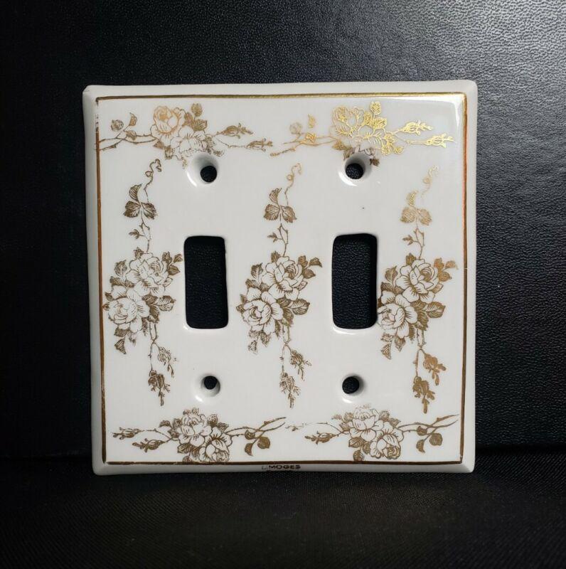 Vtg Limoges Porcelain Double Light Switch Cover Plate Gold Roses on WhiteFRANCE