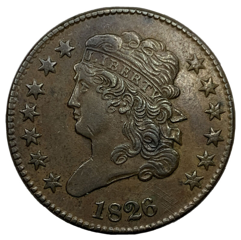 1826 Capped Bust Half Cent C-1 Almost Uncirculated