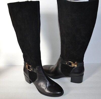 Anne Klein Joetta Womens BLACK LEATHER Suede Fashion Knee-High Boots SZ 6 M $179