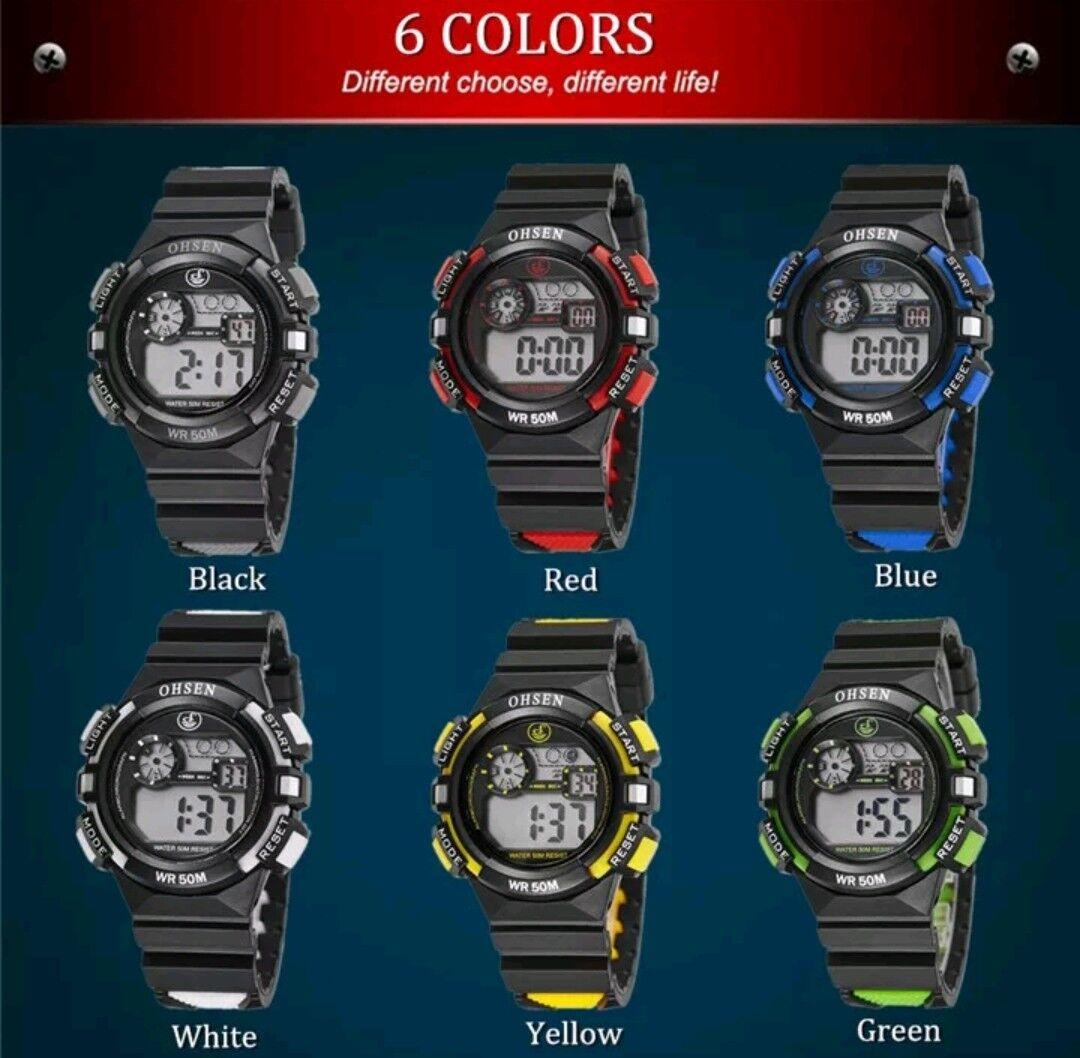 OHSEN 1610 Digital Kinder Uhr Stoppuhr Sportuhr Alarm Armbanduhr Wasserdichte .
