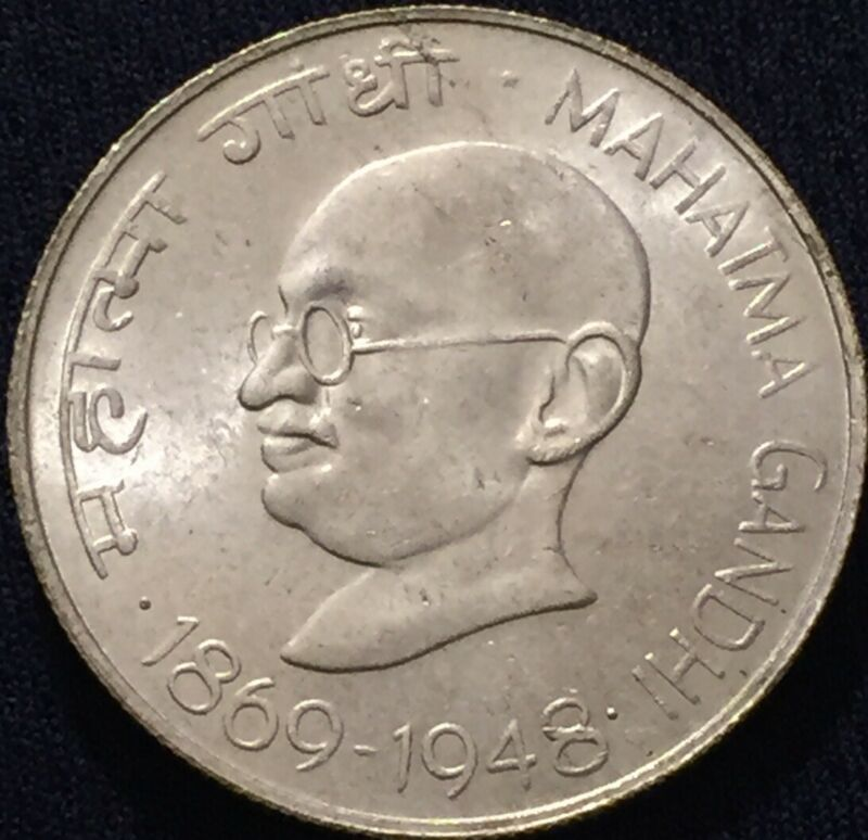 Republic India 1869-1948 Silver 10 Rupees Gandhi Birth Centenary - Lustrous UNC