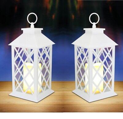 2 WHITE floral lattice Lantern & LED flameless pillar Candle holder Lamp wedding