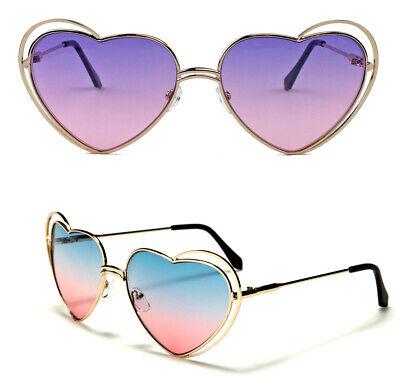 Große Herzförmige Damen Sonnenbrille Pilotenbrille Herzbrille Metall Gestell