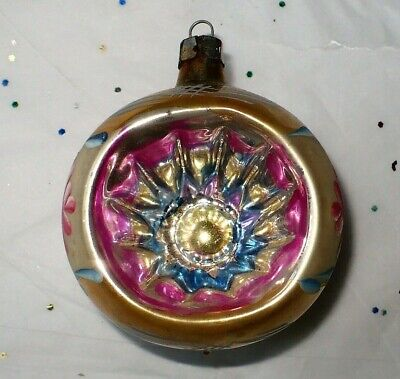 VTG CHRISTMAS GOLD INDENT GLASS HAND PAINTED DESIGN TREE ORNAMENT -