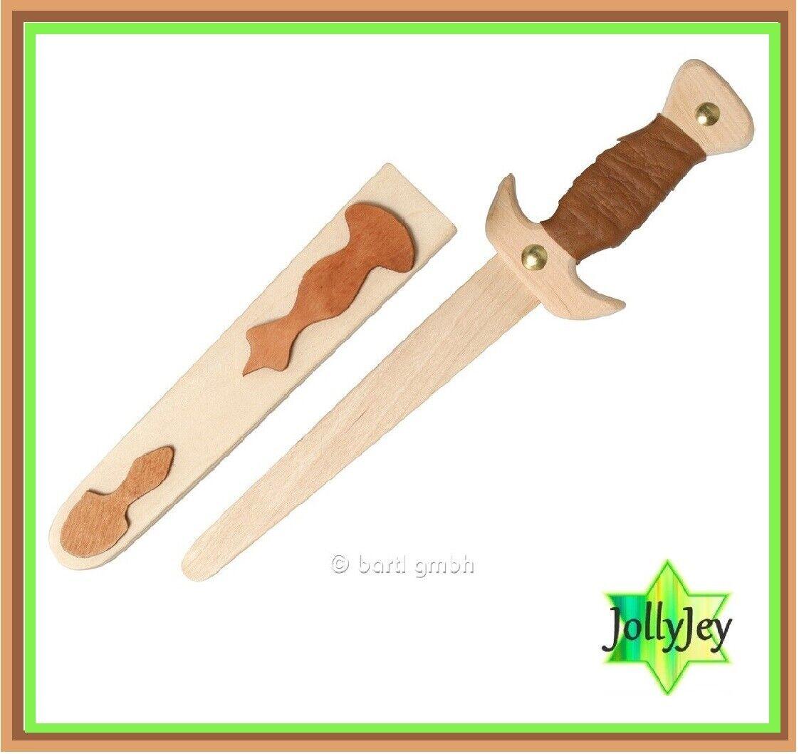 Premium Kinder Holzschwert 34 cm Dolch Schwert Echtholz mit Hülle Scheide Holz
