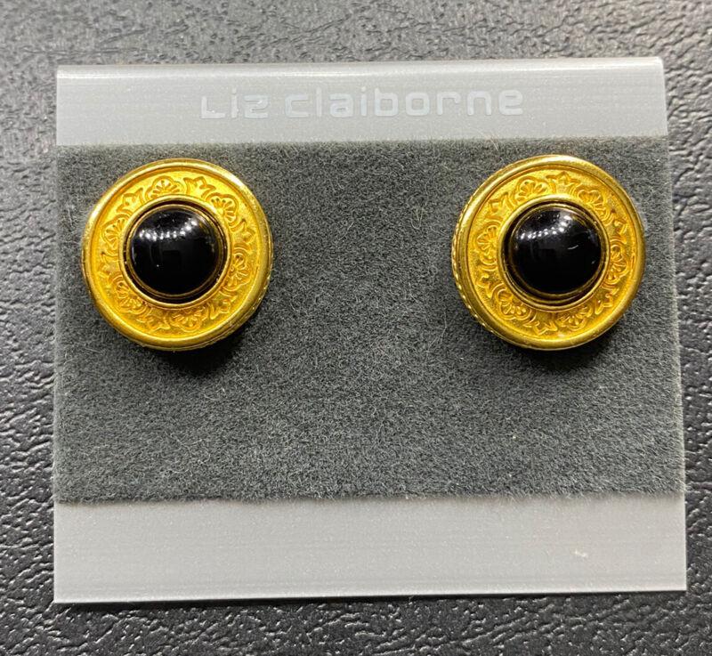 Vtg Liz Claiborne Black Cabochons Earrings Gold Tone Round Designer Signed LCI