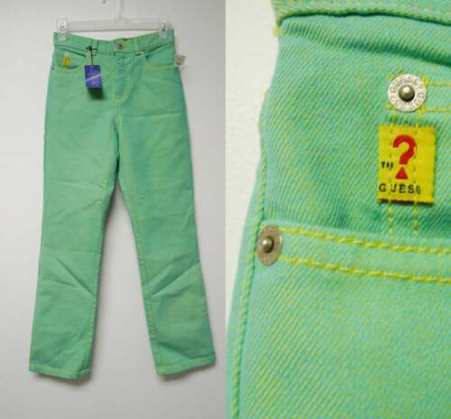 VINTAGE with TAG! Guess . 90s slick denim green high waist jeans . size girls 12