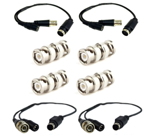 4 Pcs Male/Female CCTV Security Camera DIN-BNC Cable Adapter w/ 4 BNC Connectors