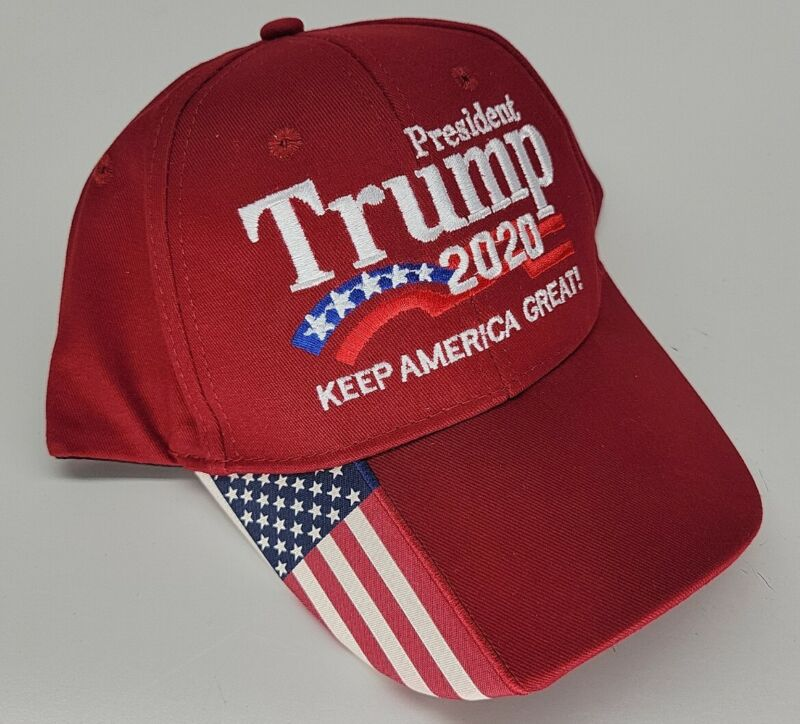 HAT President Trump 2020 Keep America Great Adjustable Deep Red FREE 3 x 5 Flag