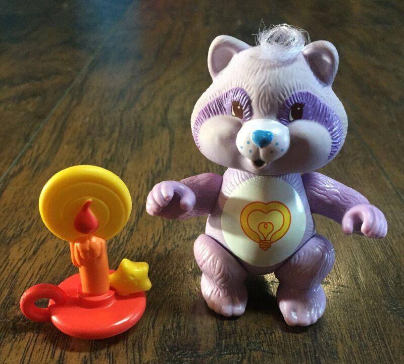Rare HTF Vtg 1985 Care Bear Cousins Bright Heart Raccoon PVC Figure w/Candle EVC