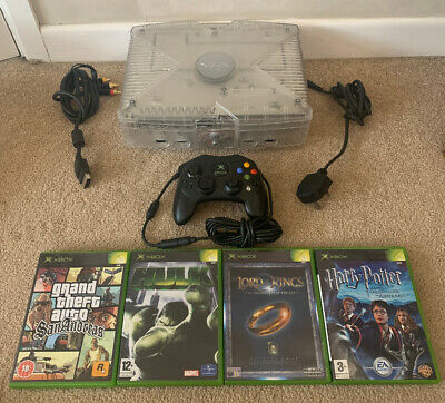 Original Xbox Console Crystal - With 4 games Inc GTA - Good Condition - PAL