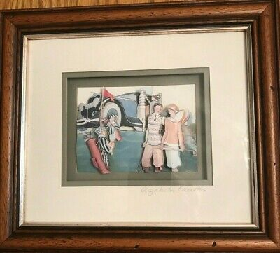 Elizabeth Causton Signed Decoupage Hand made Original Framed Art-