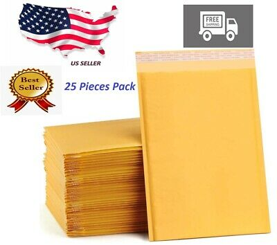 6 X 8 25 Pieces Paper Bubble Padded Envelopes Mailers Shipping Case Seal Bag