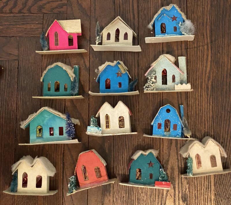 13 Vintage Christmas Village Cardboard Paper Putz like mini Houses  Japan Lot