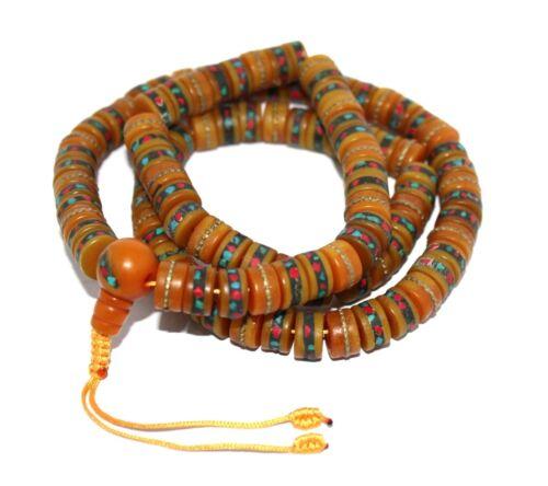 Tibetan mala Amber Necklace yoga prayer beads meditation Necklace108 beads M5