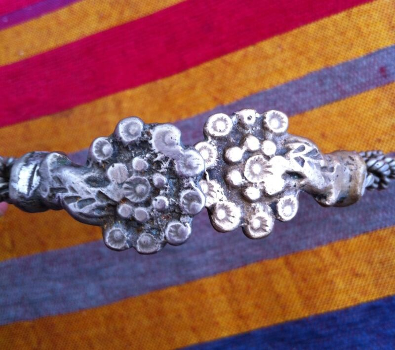 Vintage Moroccan Berber Collar Necklace Melange Piece W Floral Fibula Ends