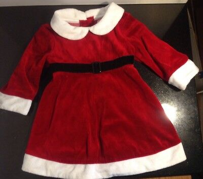 Santa Suit Christmas Dress Infant 6/9 Months Red & White Cotton - Infant Santa Suit