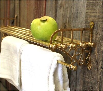 Cast Brass Train Rack and Towel Bar for Bathroom with Shelf Antique -