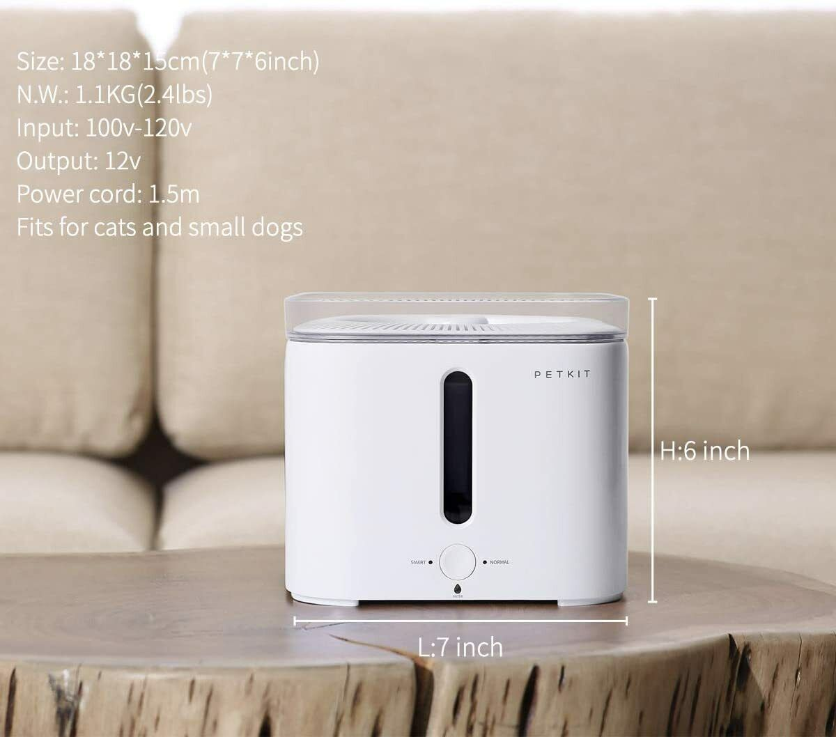 Pet Dog Cat Smart Water Fountain Bowl - 2.5L With Filter, Water Shortage Alert - CA$49.99
