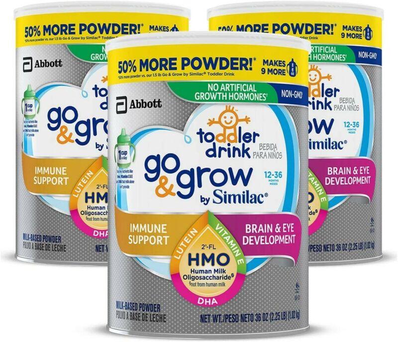 3pk. Abbott Go & Grow by Similac Milk Based Toddler Drink, 12-36 Month 36 Oz.