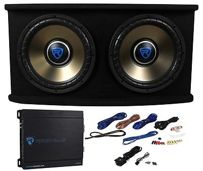 """Rockville RVSPL12.2 Dual 12"""" 1800w Car Subwoofer+Sub Box+Amp+Wires Bass Include"""