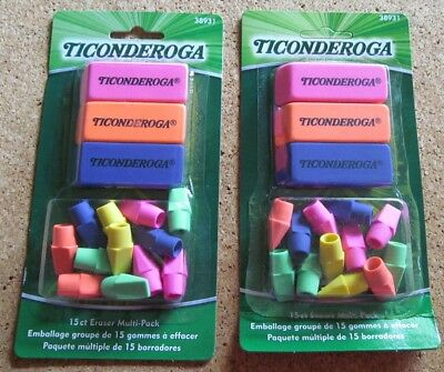 Eraser Multipacks Chubs Pencil Tops Ticonderoga 2-15 Ct Packages Free Shippin