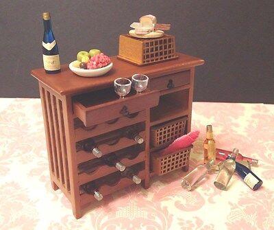 Dollhouse Miniature Furniture Brown Wood Wine Shelf Cabinet 1:12 (no food)