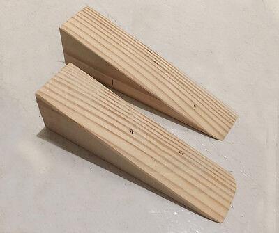 Handmade Wooden Non Slip Door Stop Wedge Stopper for Home & Office, 2 PCS