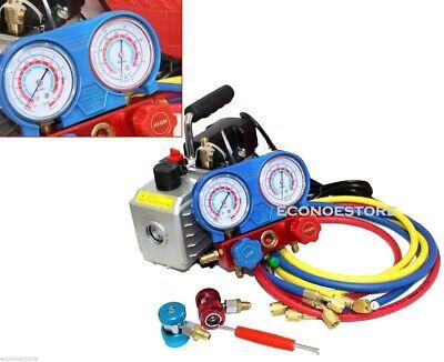 Combo 3cfm 14hp Ac Vacuum Pump Hvac Refrigeration Manifold Gauge R134 R22 R12