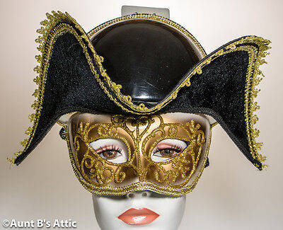 Mardi Gras Mask With Faux Hat Venetian Carnival Masquerade Mask