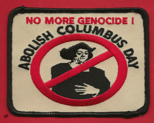 AIM AMERICAN INDIAN MOVEMENT ABOLISH COLUMBUS DAY PATCH.