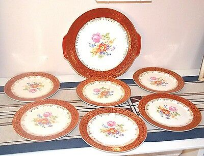 Meissen Rose Sebring Pottery 22K Gold Gilded Emperor Serving Platter & 6 Plates