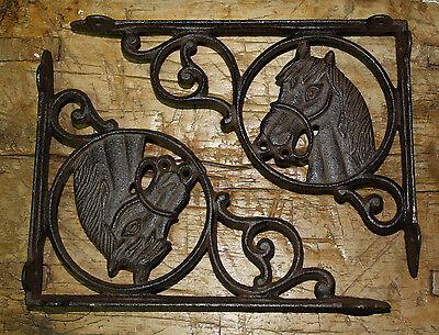 6 Cast Iron WESTERN Style HORSE HEAD Brackets, Garden Braces PONY Shelf Bracket -