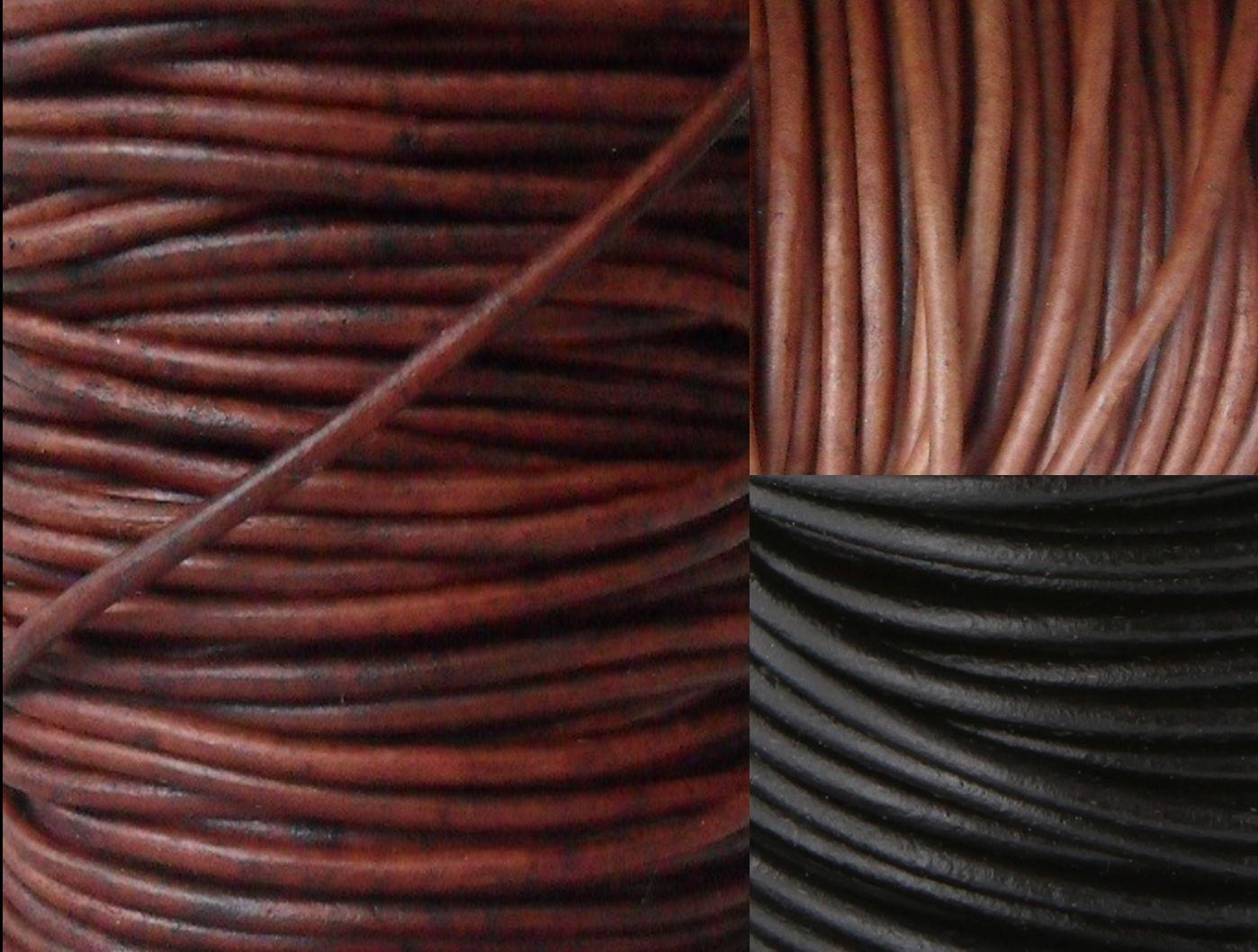 PREMIUM Lederbänder rund Lederband - Ø 1 / 1,5 / 2 / 2,5 / 3 / 4 / 5 mm