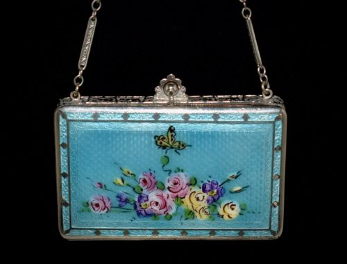 SHOWPIECE Antique *ENAMEL GUILLOCHE* Hand Painted **BUTTERFLY & ROSES** Compact