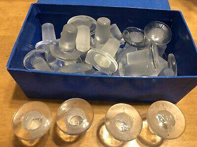 Glassware Lab Glass Pyrex Flat Head Stopper Size 19 14 - Lot Of 35