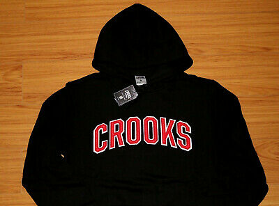 Crooks and Castles Black Red College Sweatshirt  Pullover Hoody Brand New In (Hoody Purse)
