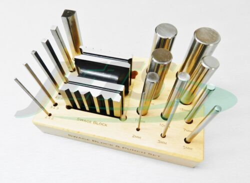 Steel Swage Block and Forming Design Block & 16 Punches Shaping Tools Set +Stand