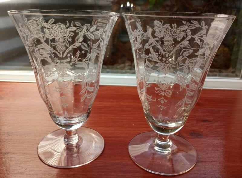 2 Morgantown Lace Bouquet Sears Florentine Etch Iced Tea Glasses Ci 1943