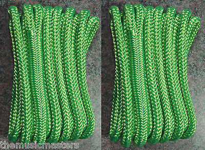 2  Green Double Braided 3 8  X 15 Ft Boat Marine Hq Dock Lines Mooring Ropes