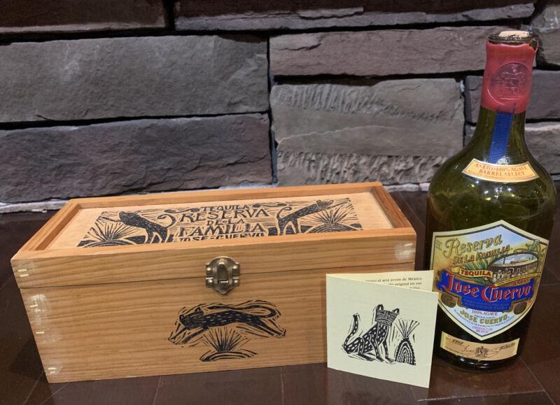 Jose Cuervo Tequila Reserva De Familia Wooden Box and Bottle 1995 Joel Rendon