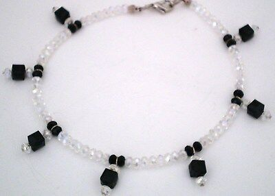 "Anklet Glass Crystal Black/Clr Silver Plated 10.5"" No Stone Handmade GB USA New"