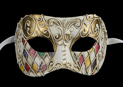 Mask from Venice in Tip Harlequin Multicolour Golden Authentic Paper Mache 321