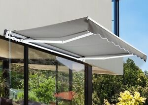 NB: 10' x 8' Auvent Awning Manuel Rétractable -Gris NEUF NEW
