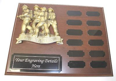 (Firefighters Perpetual Plaque, 12 Year Firemen Award, Plaque with free Engraving)